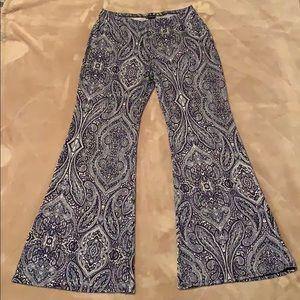 Navy/white print bell bottom pants